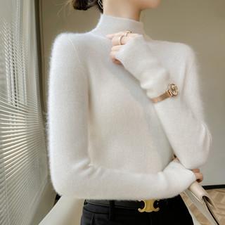 秋冬新半高领套头长袖纯羊毛修身保暖针织打底衫内搭短款高领毛衣