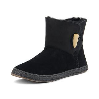 UGG 秋冬牛角搭扣羊毛皮一体女靴子户外休闲短筒雪地靴