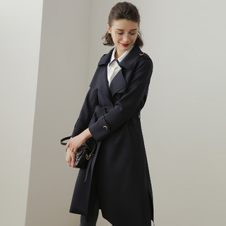 21秋新款优雅空气层高阶感翻领腰带中长款女式风衣