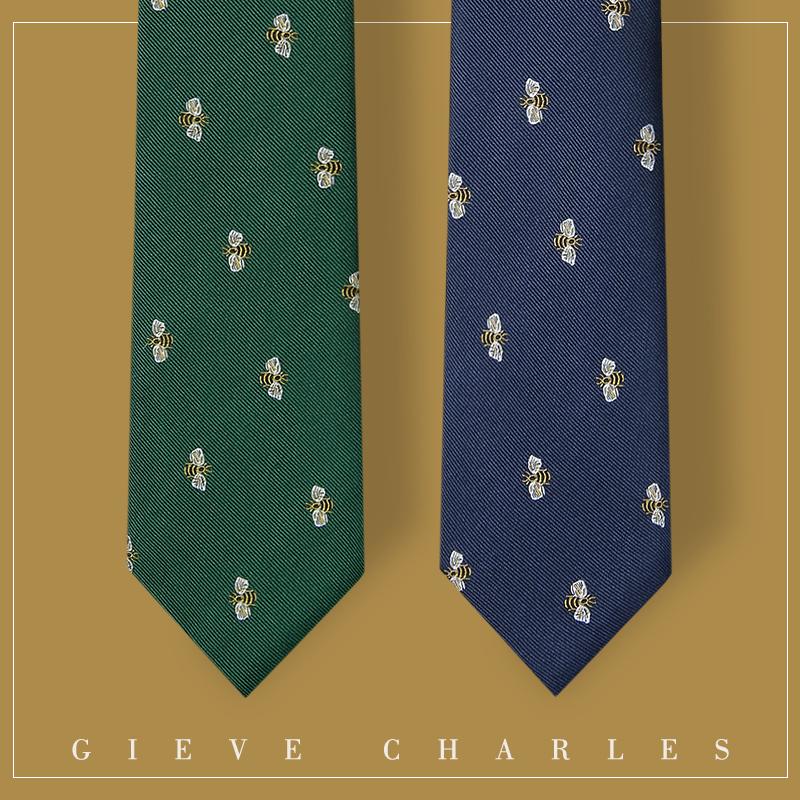 GIEVES CHARLES意大利风格真丝刺绣男士领带男商务休闲时尚礼盒装 绿色猫头鹰
