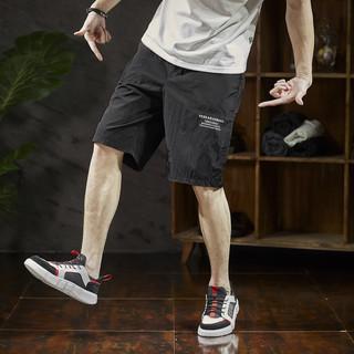 TONLION 唐狮 夏新款运动休闲短裤男五分裤宽松运动直筒黑色男士短裤潮