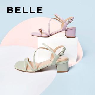 BeLLE 百丽 仙女风罗马凉鞋女夏季舒适粗跟通勤中跟凉鞋3L8A1BL0E