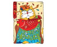 仟象映画 张乐陆 浮生夜画复刻版艺术《O款-年年有鱼》21.5x26.5cm 哑光纸 木色框