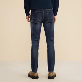 HLA 海澜之家 宽松弹力云感蓝色牛仔裤2021秋季新品五袋款裤子男