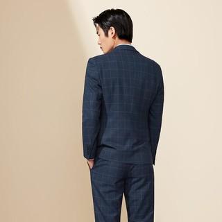 HLA 海澜之家 西装男商务修身三件套礼服21秋季新品格纹西服西装男