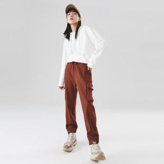 Meters bonwe 美特斯邦威 工装裤女宽松直筒新款冬季复古时尚潮流多袋运动长裤女