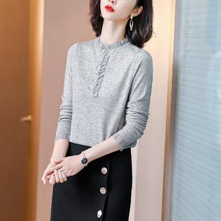丝柏舍 秋装新款纯色拼接长袖显瘦打底衫女上衣新款