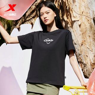 XTEP 特步 未来可期女短袖女装新疆棉2021夏季新款休闲半袖黑色运动T恤