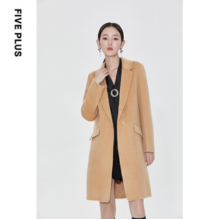Five Plus 5+ 长款宽松阿尔巴卡长袖呢子外套女茧型羊毛双面呢大衣