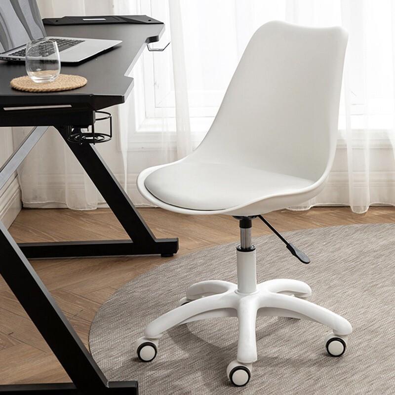 泉枫 电脑椅家用简约升降转椅学习宿舍书房椅子卧室靠背凳子办公椅 S165-01-白色