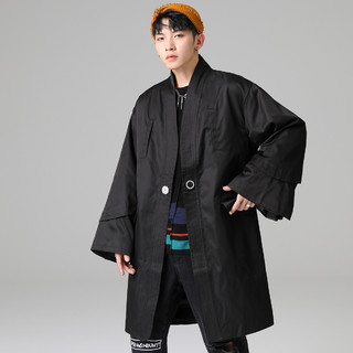 DEBRAND 吴克群潮牌新款冬季潮流帅气轻薄保暖男士棉衣中长款棉服男外套男 道袍