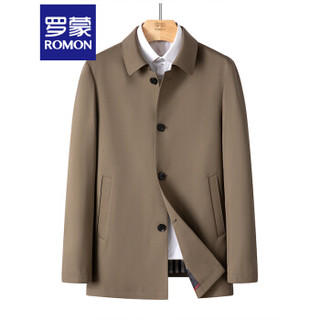 ROMON 罗蒙 风衣中长款秋冬季男士青年商务外套卡其色