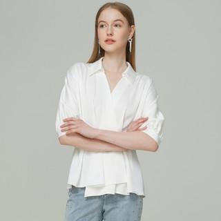 ANMANI 恩曼琳 21春新品丝质缎面翻领V领收腰灯笼袖女衬衫