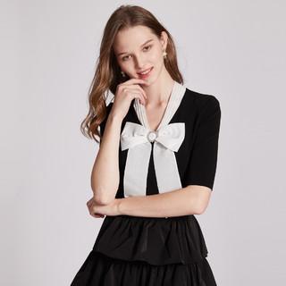 卓雅周末2021春季新品时尚精致大蝴蝶结修身款针织衫