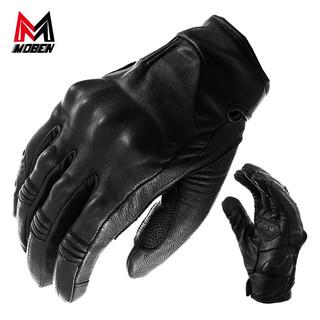 马鲁申 摩邦MOBEN-TOOM复古摩托车骑行骑士机车真皮手套羊皮触摸手机 摩邦黑色羊皮防护手套 L