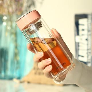 LOCK&LOCK 乐扣乐扣 300ml双层便携茶杯耐热玻璃水杯