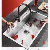 PLUS会员:VAMA 厨房智能台控不锈钢水槽+黑色抽拉龙头 680*450cm