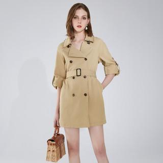 AIVEI 欣贺艾薇 2021春季新品英伦风双排扣中长款风衣外套