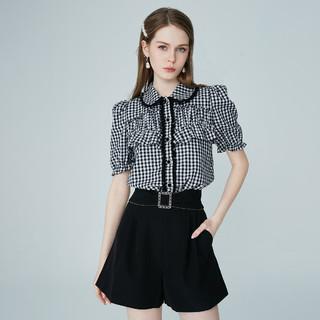 AIVEI 欣贺艾薇 2021夏季新品娃娃领泡泡袖复古格子衬衫