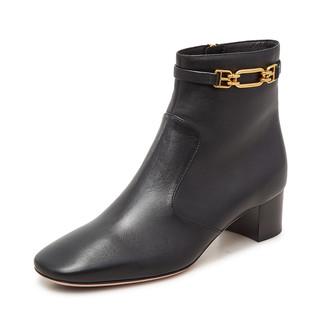 BALLY 巴利 Bally/巴利黑色羊皮革气质时尚女士粗跟裸靴新款