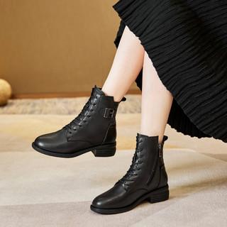 RED DRAGONFLY 红蜻蜓 2021女鞋舒适粗跟时装靴女短靴侧拉链女靴