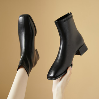 Cover 卡文 2021秋冬新款女靴舒适粗跟短靴女百搭瘦瘦靴气质切尔西女靴子