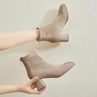 RUXI 如熙 踝靴短靴女靴子秋冬新款中筒靴裸靴粗跟高跟时装靴瘦瘦靴百搭增高
