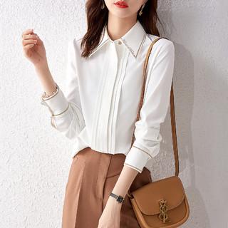 Sentubila 尚都比拉 时尚通勤衬衣女春秋衬衫气质纯色刺绣长袖衬衫