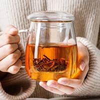 物生物 玻璃杯女水杯夏季家用茶水分离杯泡茶杯男透明带盖花茶杯子 小蘑菇-320ml