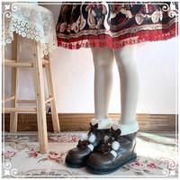 美啦小兔beauty bunny 雪花小熊 lolita 加绒可爱厚底短靴 黑色