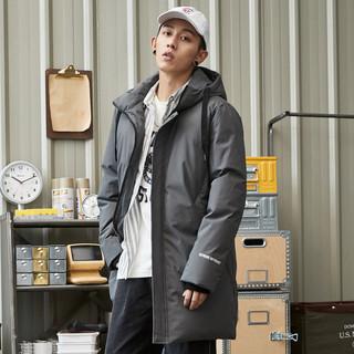 TONLION 唐狮 冬季羽绒服男新款中长款连帽韩版潮流印花字学生宽松工装外套