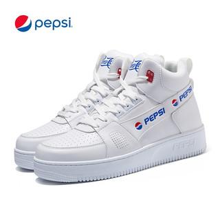 pepsi 百事 可乐PEPSI男鞋休闲鞋板鞋高帮运动鞋情侣款小白鞋男女学生户外球鞋 B0YW3044D蒸汽白41(男)