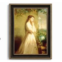 上品印画 花前少女 轻奢欧式油画样板房卧室装饰画 30x40cm 油画布 细边金色框