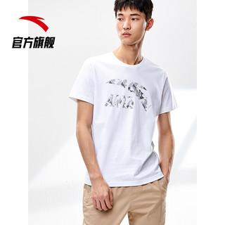 ANTA 安踏 短袖男2021夏季情侣t恤宽松运动体恤上衣半袖纯棉白色针织衫