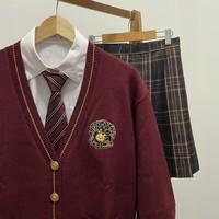 放学后的制服馆  jk制服 万圣节南瓜猫 针织毛衣开衫 枣红色