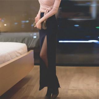 秋冬新款复古高腰包臀裙女装半身裙中长款性感开叉一步裙修身长裙