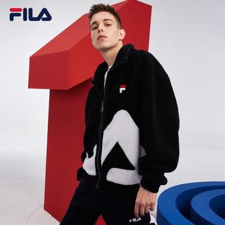 FILA 斐乐 官方男士仿羊羔绒外套2021冬季新款大LOGO运动外套男