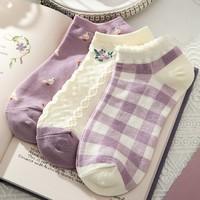 Caramella 焦糖玛奇朵 519873-SQ 女士薄款袜子 3双装