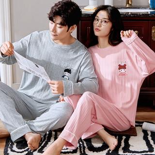 春秋季情侣睡衣女长袖棉质宽松可爱