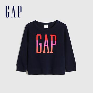 Gap 盖璞 女幼童LOGO碳素软磨抓绒运动卫衣 秋冬新款童装洋气儿童上衣