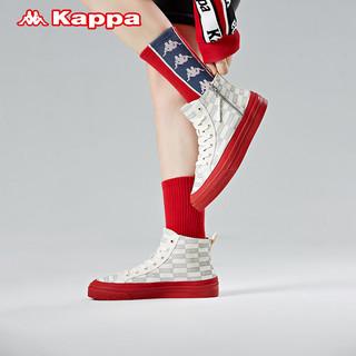 Kappa 卡帕 串标帆布鞋男女休闲高帮小白鞋运动鞋