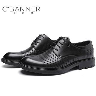 千百度(C°BANNER)男鞋夏季凉鞋镂空洞洞鞋透气英伦商务休闲正装皮鞋J7703732L01 黑色(镂空款) 42