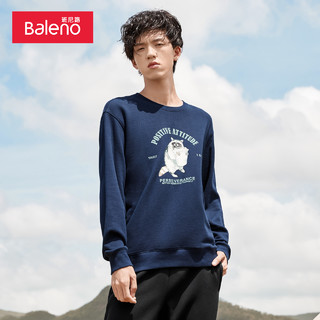 Baleno 班尼路 baleno班尼路秋冬新款加绒圆领卫衣男宽松套头衫外套印花休闲长袖