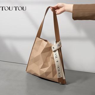 toutou TOUTOU2021秋冬新款女包小众设计几何菱格大容量托特包单肩腋下包