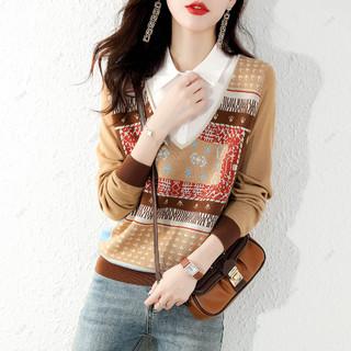 KEMANYA 珂曼雅 时尚衬衫领假两件显瘦舒适百搭套头针织衫女