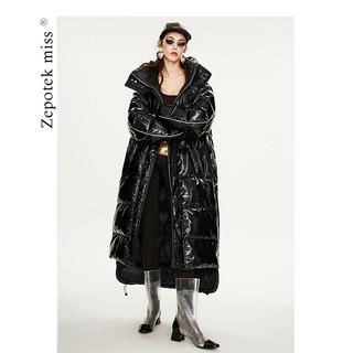 ZEPOTEK 7折到手909 羽绒服男女情侣同款冬季新款加长加厚宽松版保暖白鸭绒外套潮G045 黑色 L-高品质90白鸭绒