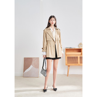 秋水伊人 简约短款风衣2021秋季新品时尚气质翻领单排扣显瘦外套上衣女