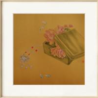 ARTMORN 墨斗鱼艺术 超君 工笔画花鸟装饰画《一盒春》50x50cm 工笔国画 环保画框