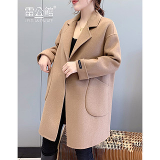 LEICLANPALACE 雷公馆 毛呢大衣女2021秋冬新品羊毛呢大衣西装领中长款显瘦呢子大衣K21406 宏驼 L