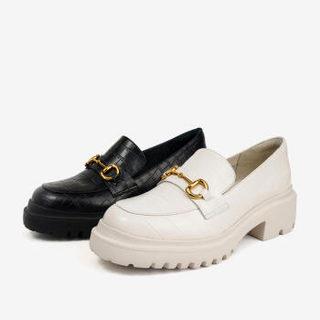 BASTO 百思图 2021新款商场同款时尚浅口厚底单鞋女乐福鞋KA791AA1 黑色 36